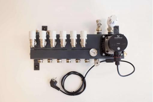 SL verdeler 6 groeps met Grundfoss Alpha L vloerverwarming | 123vloerverwarming